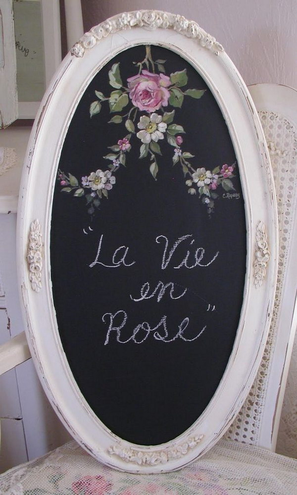 DIY Oval Rose Chalkboard