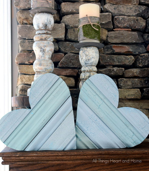 DIY Shabby Chic Scrap Wood Heart
