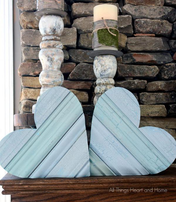 DIY Shabby Chic Scrap Wood Heart