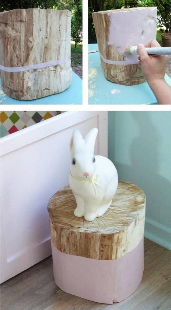 DIY Shabby Chic Tree Stump Table.