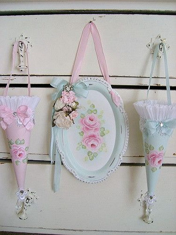 DIY Sweet Shabby Roses Painted On An Old Tray, With Vintage Millinery And Tussie Cones