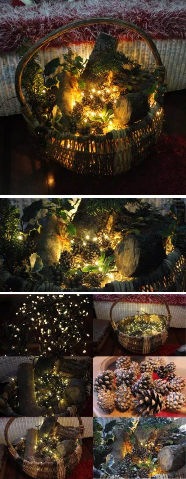 Rustic Porch Basket Decoration For Christmas.