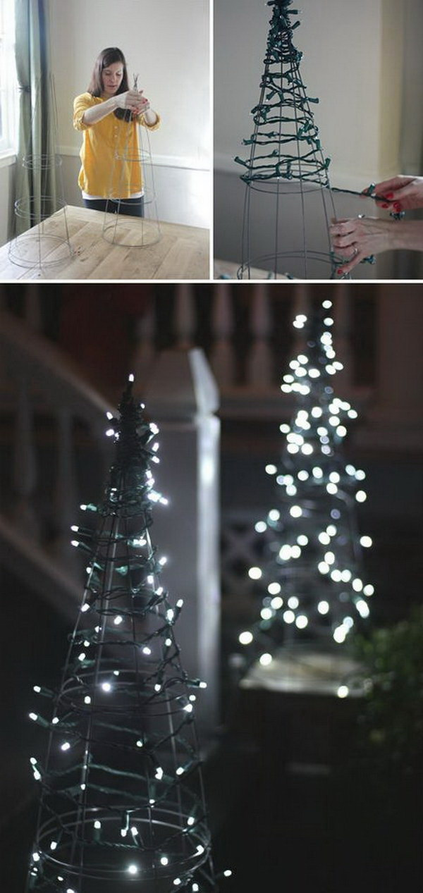 DIY Tomato Cage Christmas Tree Lights.