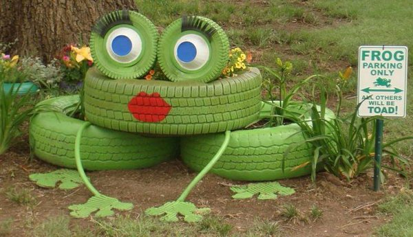 Frog Tire Planter. Get the instructions