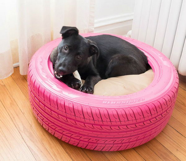 DIY Dog Bed from a Recycled Tire. Get the tutorial