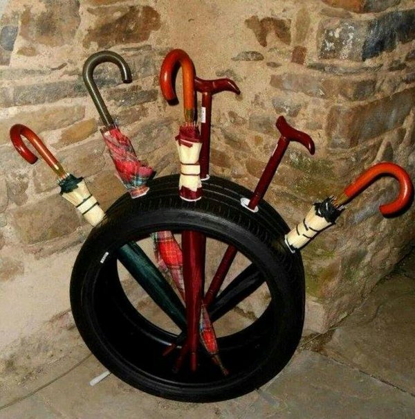 Old Tire Umbrella Stand.