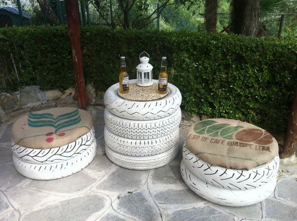 Tire Garden Furniture Set.