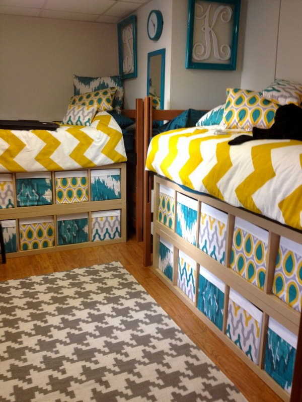 Custom-made Boxes for Extrta Storage Under the bed. Stylish and custom-made boxes fill up the unused space under these two dorm room beds.