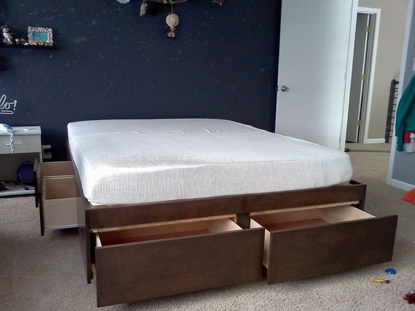 DIY Bed with Drawers. If you need more storage in your bedroom, but lack the floor space for cabinets. These drawers under the bed is great for extra storage without dust. Get the tutorial