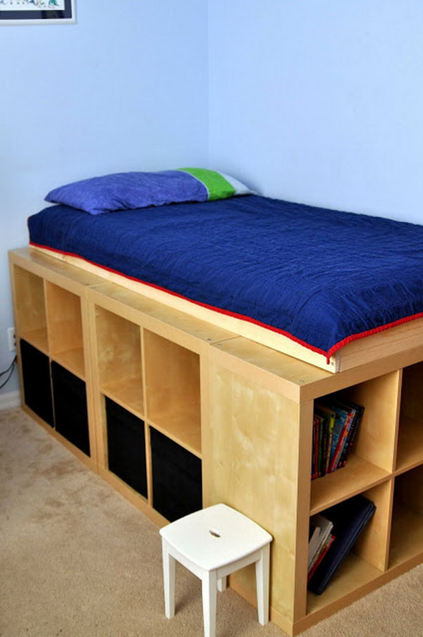 DIY Bed Platform with IKEA Expedit. I love this IKEA Expedit storage bed from Genius IKEA hackers.  All the extra storage is so fabulous. See the full directions
