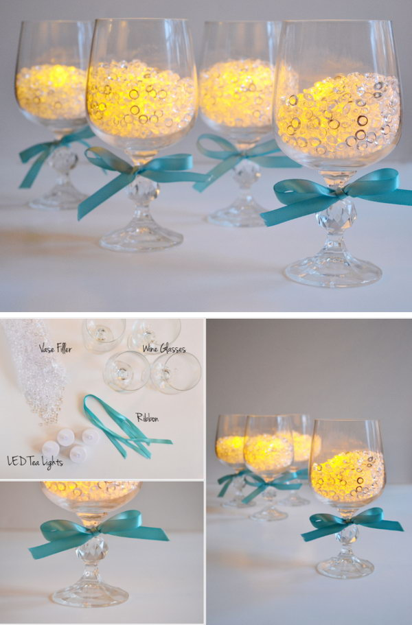 Wineglass Candle Holders Wedding Centerpiece