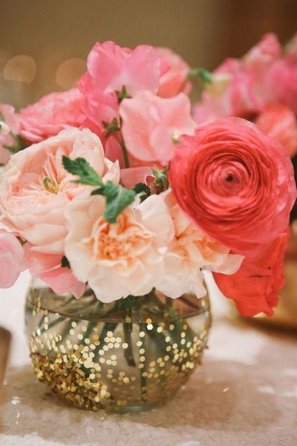 Glittered Wedding Centerpiece