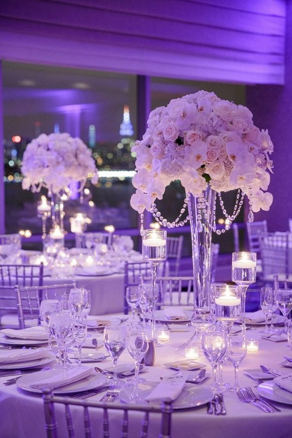 Awesome diy wedding centerpiece ideas tutorials tall wedding centerpiece with crystals and silk flowers junglespirit Gallery
