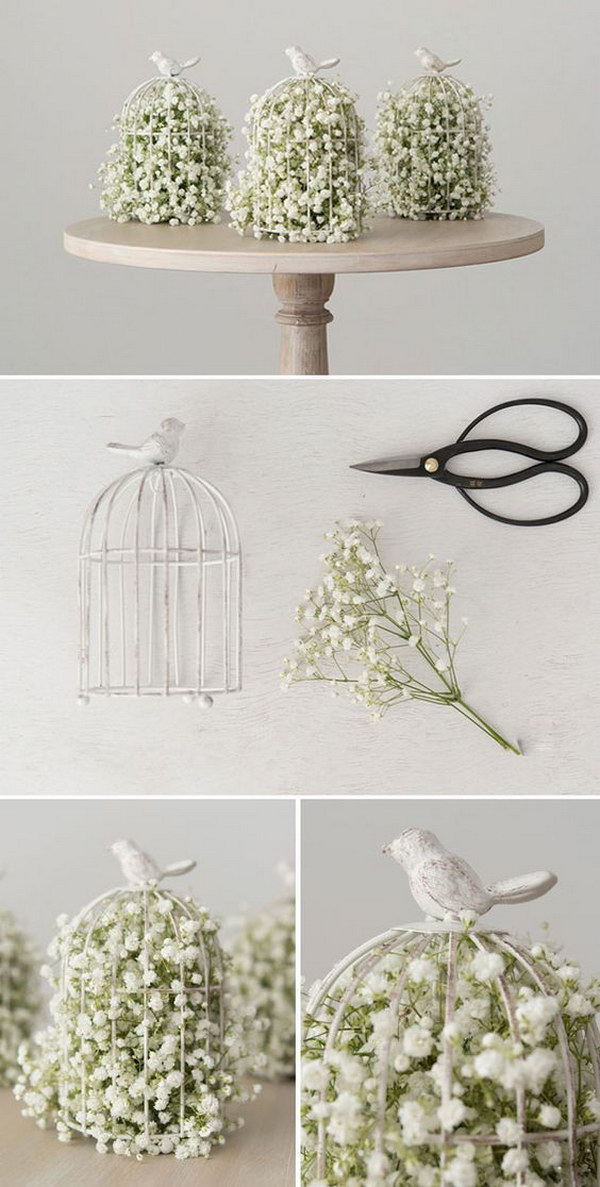 DIY Birdcage With Baby's Breath Centerpiece