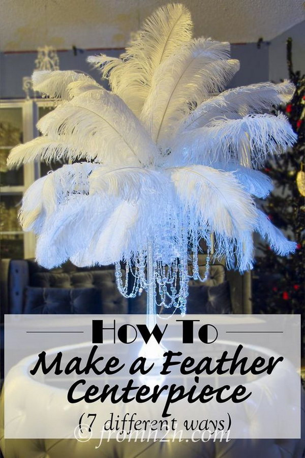 DIY Feather Centerpieces With Crystal