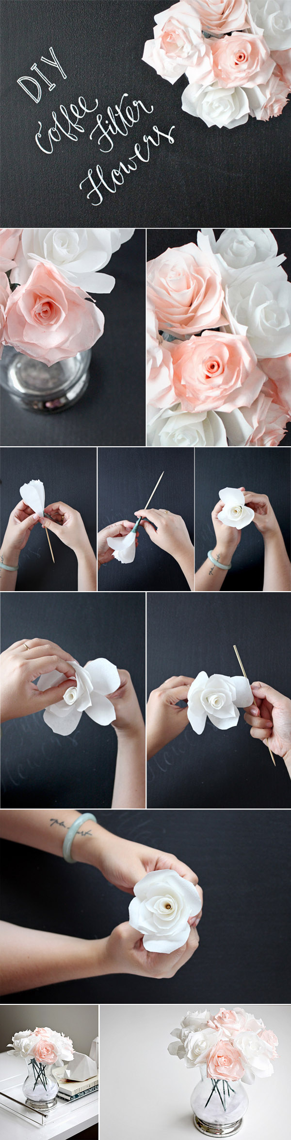 Easy Coffee Filter Flowers Centerpieces