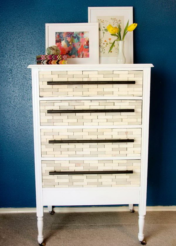 DIY West Elm Inspired Wood Tile Dresser.