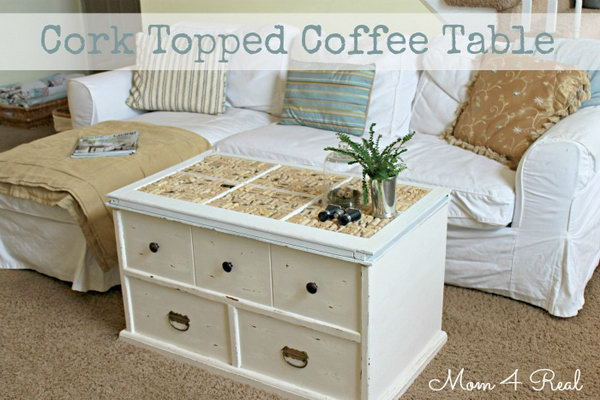 Wine Cork Topped Coffee Table