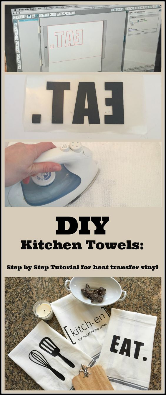 DIY Custom Kitchen Towels Using a Heat Transfer Image.
