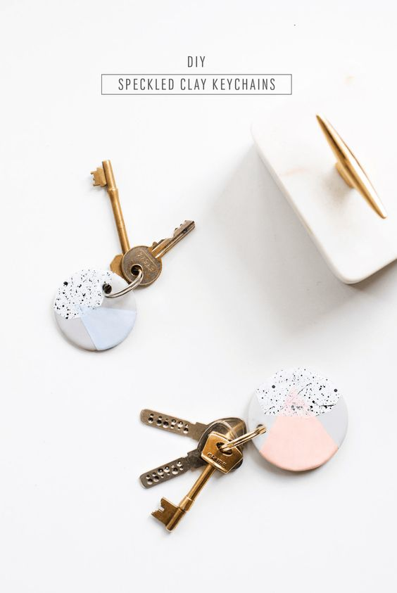 DIY Speckled Clay Keychains.