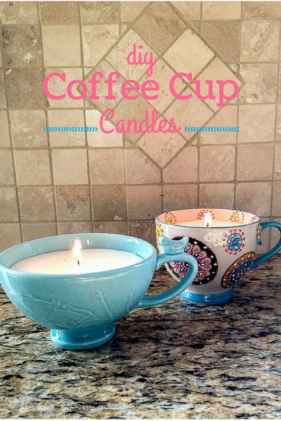 DIY Coffee Cup Candles.