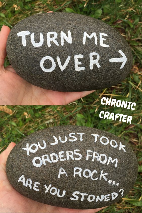 Stoned and Painting a Rock.