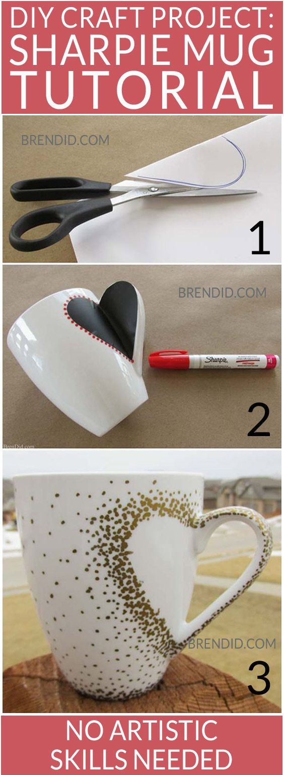 DIY Heart Handle Mugs.