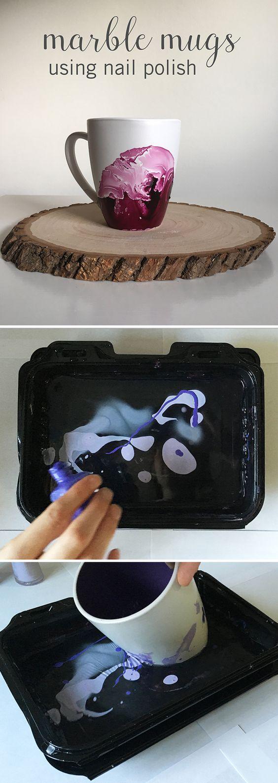 DIY Marble Mugs Using Nail Polish.