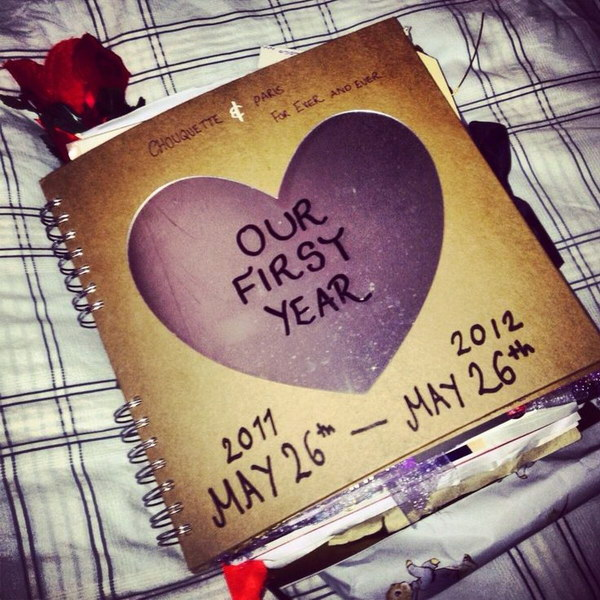 diy scrapbook gift of the time you and your honey have spent together
