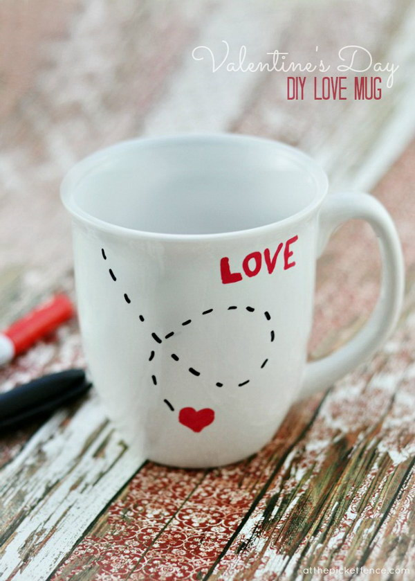 DIY Love Mug for Valentine's Day.