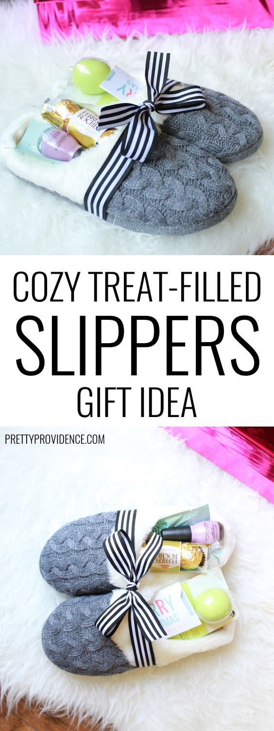 Cozy Treat-Filled Slippers Gift.