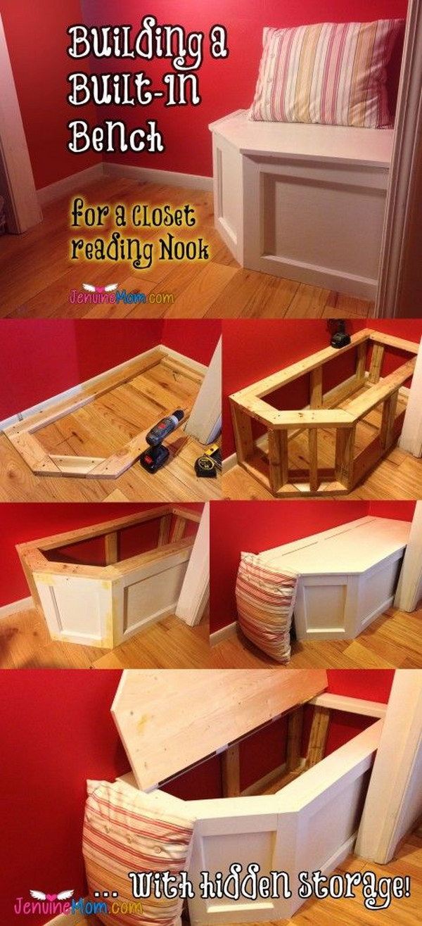 DIY Built in Bench With Hidden Storage.