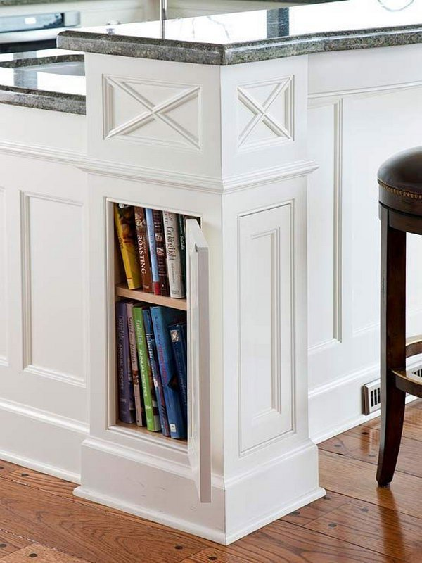 Column style Corners on This Kitchen Island for Hidden Cookbook Storage.