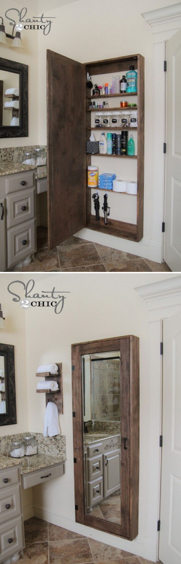 A Big Bathroom Storage Case Behind the Mirror.