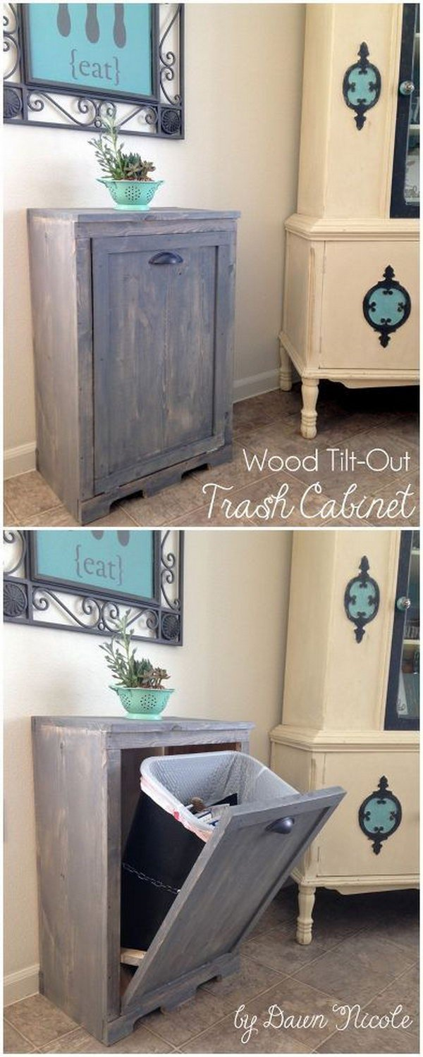 Hide Your Trash Can in Style with the Tilt Open Door Cabinet.