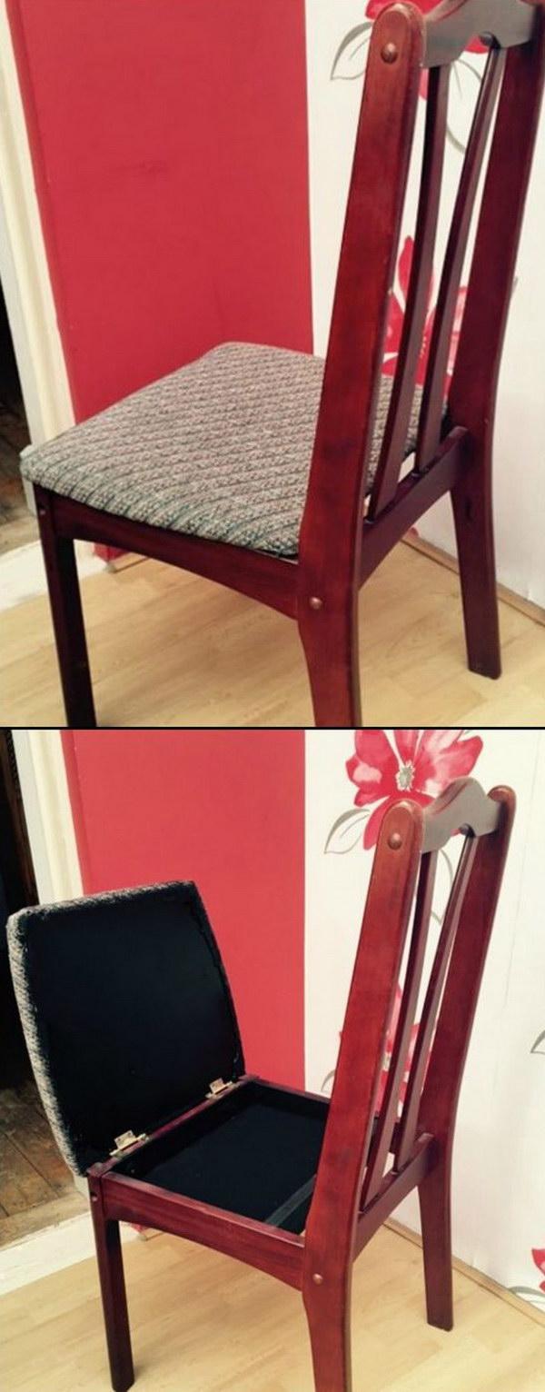 DIY Hidden Chair Compartment.