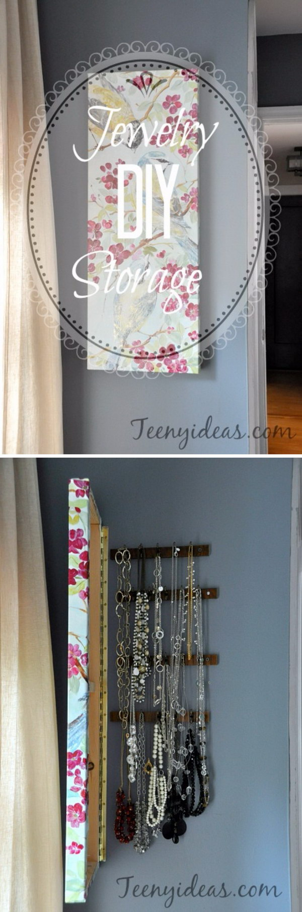 DIY Hidden Jewelry Storage Behind Wall Canvas.