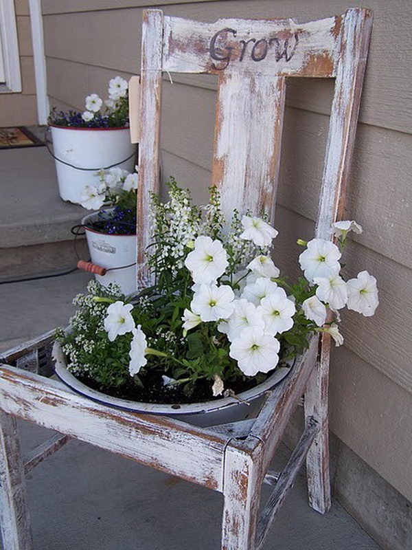 Turn Old Chairs into Beautiful Flower Beds and Planters.