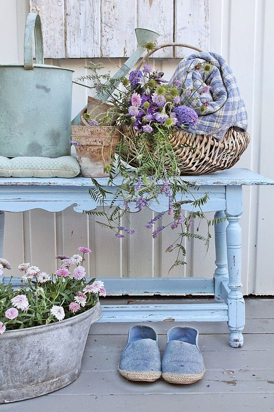 Shabby Chic Spring Porch Decoration.