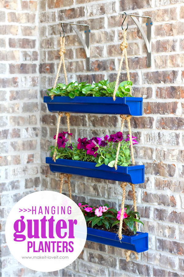 DIY Hanging Gutter Planters Project.
