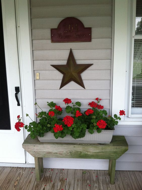 Rustic Bench for Spring Porch Decoration.