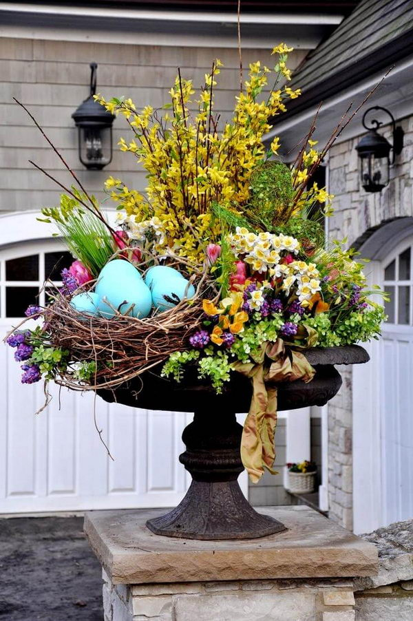 Floral Spring Planter with Bird Nest.
