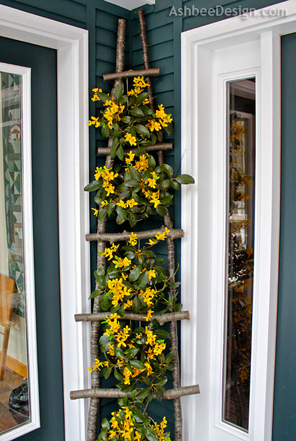 DIY Branch Ladder Flower Display.