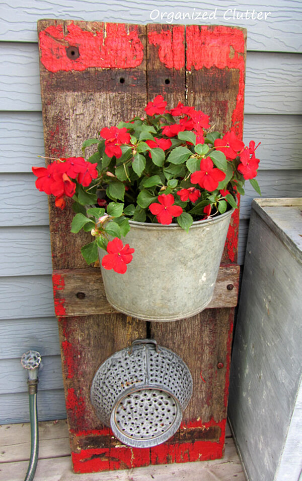 Wagon Board and Metal Bucket Planter.