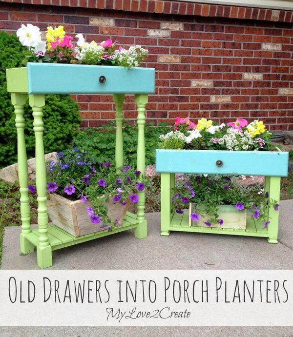 Repurpose Old Drawers into Porch Planters.