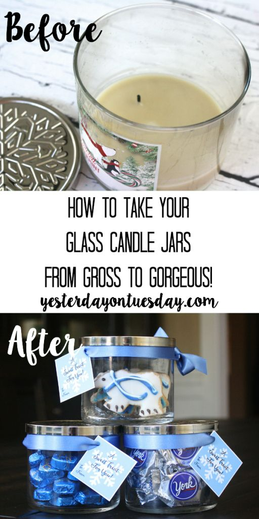 Transform a glass candle jar into a pretty candy jar.