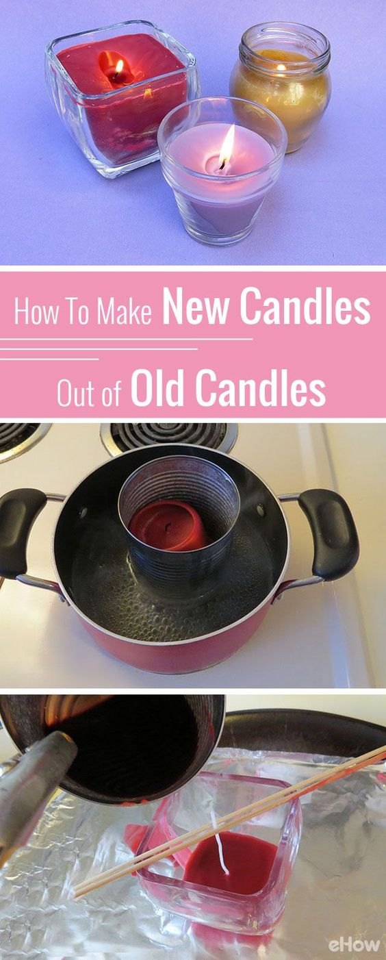 How to melt old candles to make new candles.