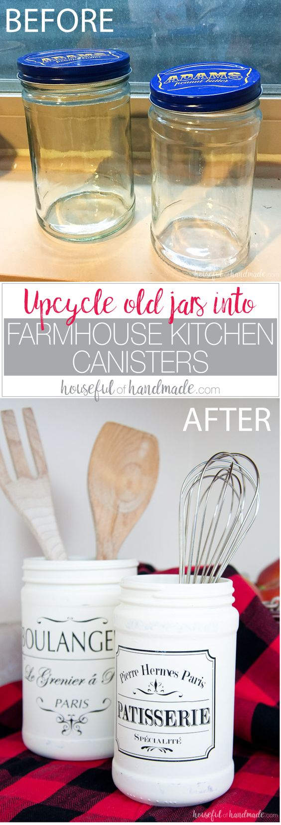 Farmhouse Kitchen Canister Made Out Of Old Mason Jars.