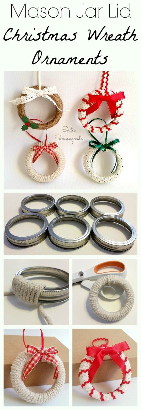 Mason Jar Lid Wreath Ornaments.