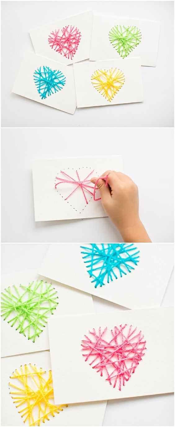 String Heart Yarn Cards.